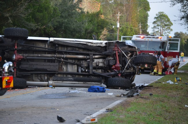 The Ford pick-up straddled the width of South Old Dixie Highway. Click on the image for larger view. (c FlaglerLive)