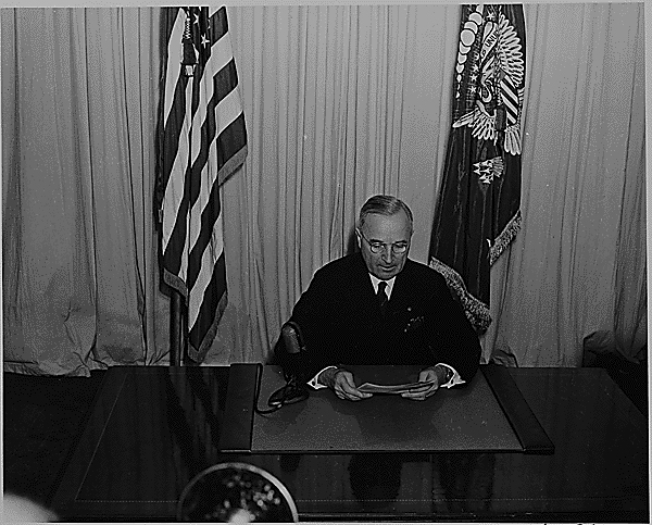Harry Truman declaring victory in Europe.