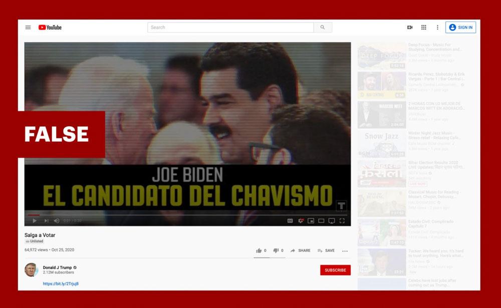 A screenshot of the Trump campaign's false ad claiming that Venezuela's socialist regime was supporting Joe Biden. (YouTube)