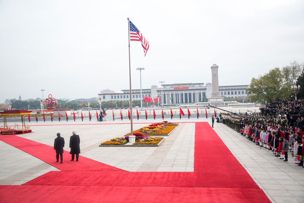 Trump in China in 2017, when he behaved. (White House)