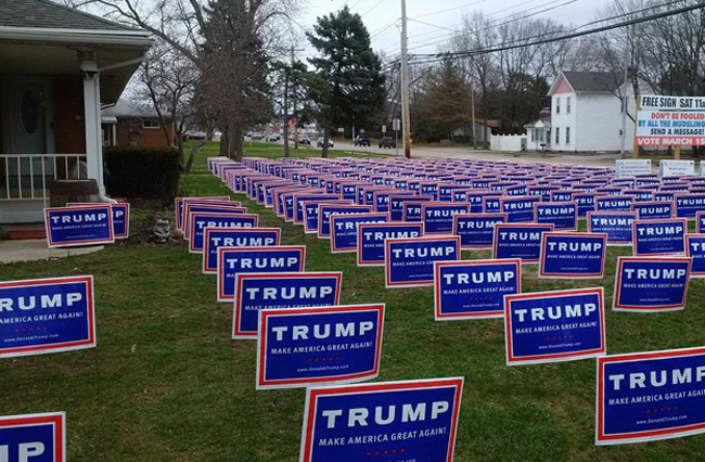 This picture of a yard in West Carrollton, Ohio, is not doctored, as many assumed when it went viral last spring. It was real. As was the Trump working-class groundswell. (Alec McGinnis/ProPublica)
