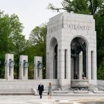 President Trump and Melania Trump at the World War II Memorial in Washington earlier this week. A fifth as many Americans have died in three months of the coronavirus emergency as did in four years of World War II. (White House)