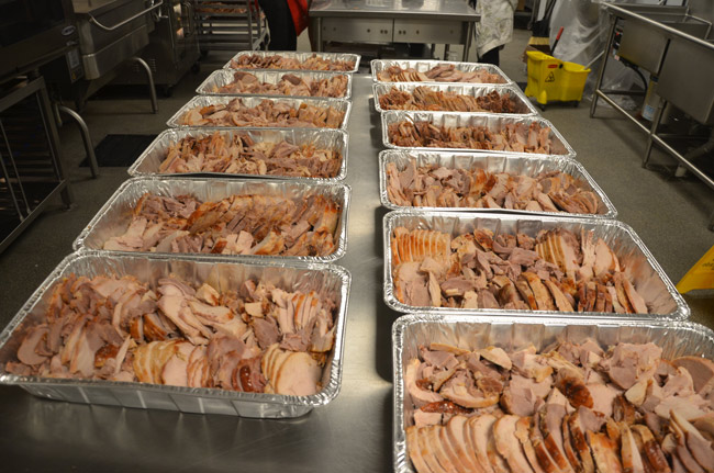 Almost ready to eat: turkey slices from Feed Flaglers past. (© FlaglerLive)