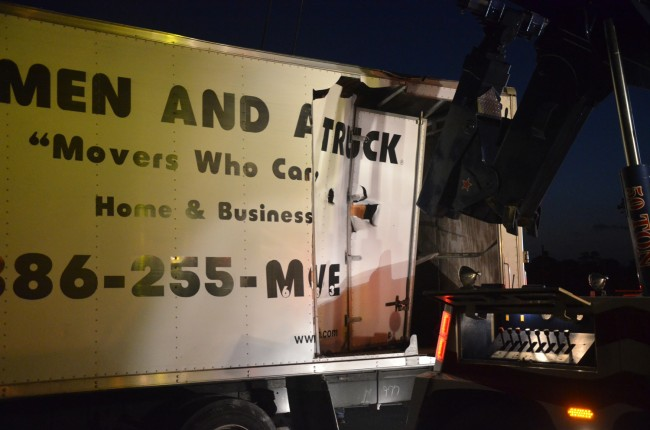 The truck after it was righted. Click on the image for larger view. (© FlaglerLive)