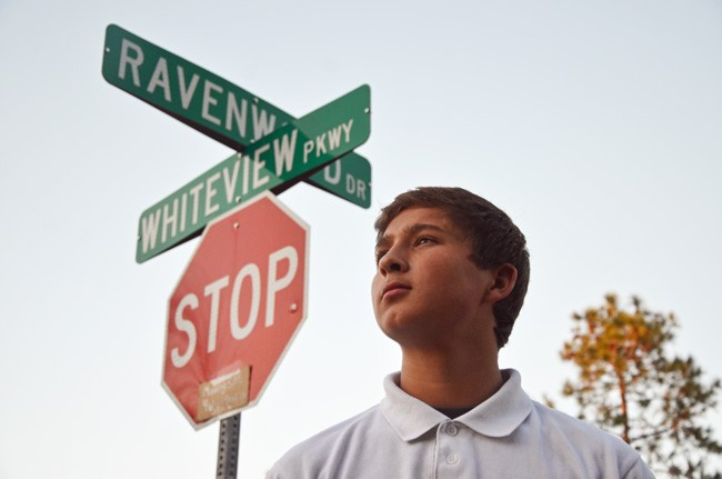 Tyler Irigoyen, recognized for his bravery and poise the day of a fatal crash on Whiteview and Ravenwood in January,  was among the people who turned out for a memorial for the victim, Elisa Marie Homen, on Jan. 20. (© FlaglerLive)