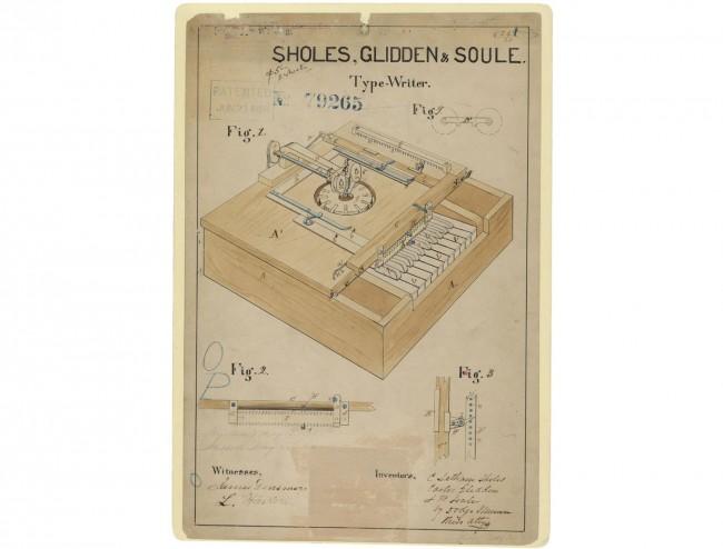 typewriter invention patent  1868
