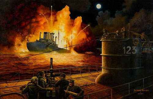 Jackson Walker's painting of the inking of the SS Gulfamerica off the coast of Jacksonville by German submarine. April 11, 1942.