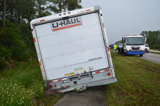 The U-Haul was empty at the time of the crash, being between two runs. (© FlaglerLive)
