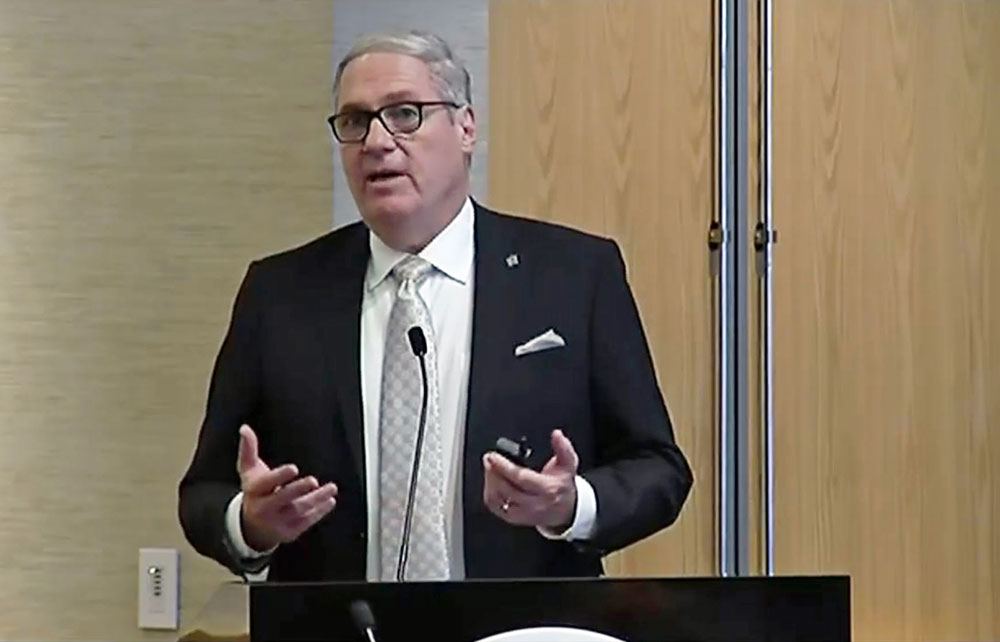 UNF President David Szymanski presenting the MedNex plan to a committee of the Board of Governors at the University of Central Florida this morning. (© FlaglerLive via Florida Channel)