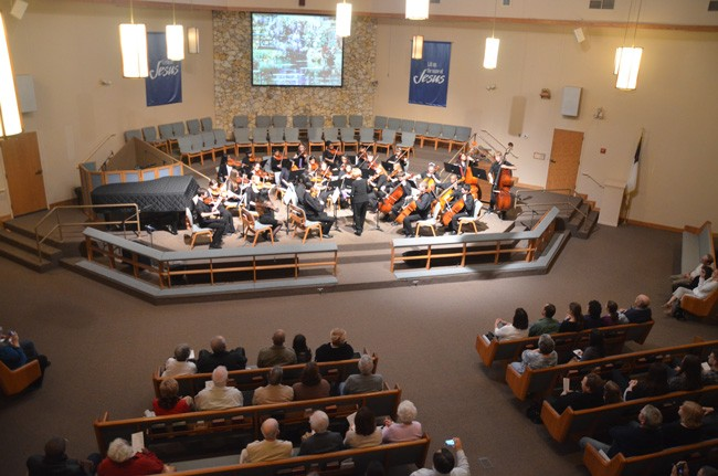 Last year's concert of the Flagler Youth Orchestra's Harmony ensemble at Palm Coast's United Methodist Church. (© FlaglerLive)