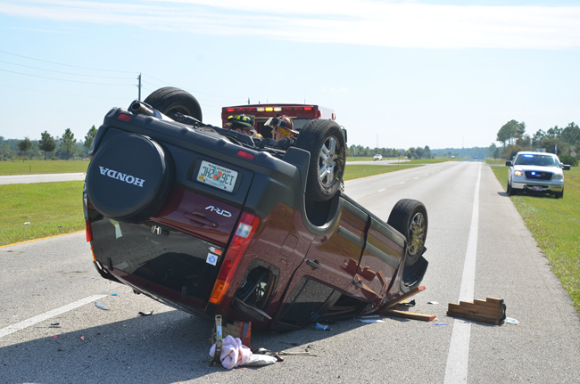 A wreck on U.S. 1 in Palm Coast last October. The occupants survived. (© FlaglerLive)
