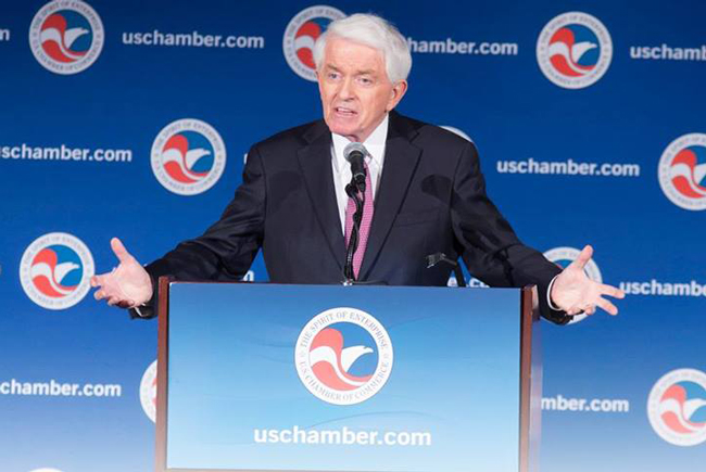 The U.S. Chamber of Commerce's Thomas Donohue doesn't see repeal of Obamacare as a realistic option. (Facebook)