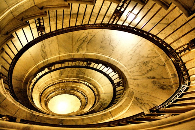 The marble staircase at the U.S. Supreme Court buildiung.