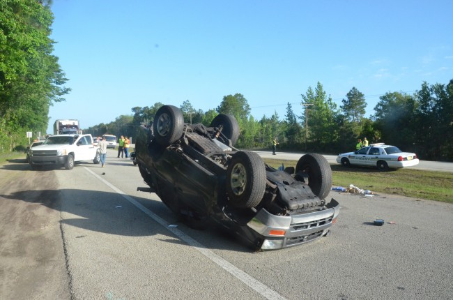 The Toyota was heading north when it lost control, flipped, and ended up blocking the southbound lanes of US 1 just south of CR304. (c FlaglerLive, click on the image for larger view)