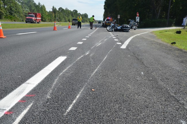 The scrape marks start 27 yards up from where the bike ended on its side. Click on the image for larger view. (© FlaglerLive)