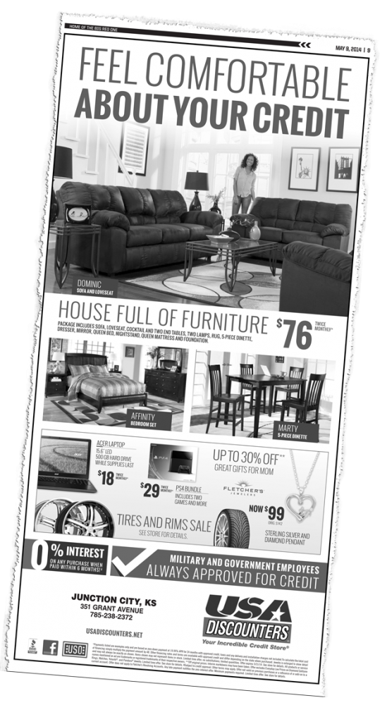 A USA Discounters ad that ran in the May 9, 2014 edition of The 1st Infantry Division Post, a newspaper produced by Fort Riley,  Kansas. Click on the image for larger view.