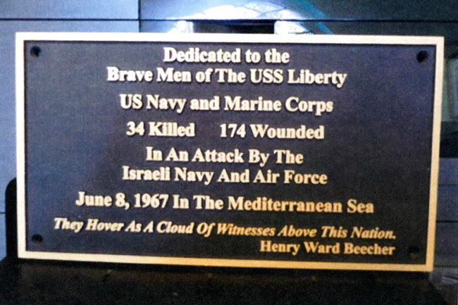 The memorial plaque Ernest Gallo, a survivor of the USS Liberty attack and a 15-year resident of Palm Coast, wanted installed at Palm Coast's Heroes Park. The city's Beautification Committee approved the plaque unanimously in April.