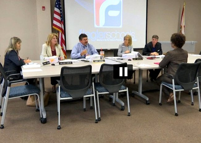 The Flagler County School Board accepts Myra Middleton-Valentine's and the advisory committee's short-list of five candidates for superintendent this afternoon. But the list triggered another discussion over the hiring process. (© FlaglerLive)