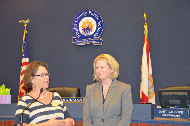 Pam Stewart, right, with Flagler Schools Superintendent Janet Valentine, when Stewart visited the district in May 2012. (© FlaglerLive)