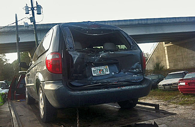 The Dodge Caravan after the wreck. (© FlaglerLive)