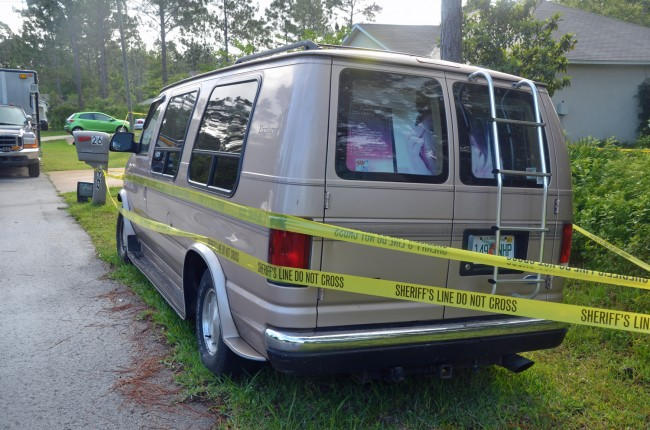 The van at the scene. Click on the image for larger view. (© FlaglerLive)