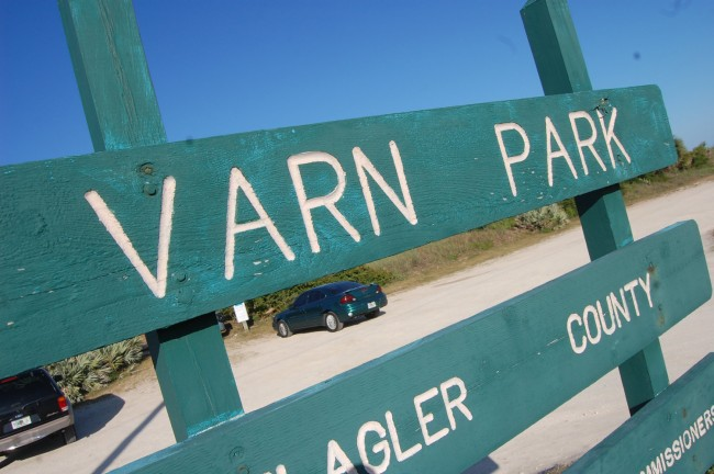 Varn Park is essentially a parking lot fronting on broad access to the ocean, north of Flagler Beach. (© FlaglerLive)
