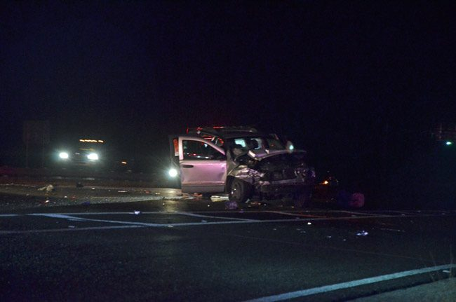 One of the vehicles involved in this morning's pre-dawn crash at I-95 just south of Palm Coast Parkway. (© FlaglerLive)