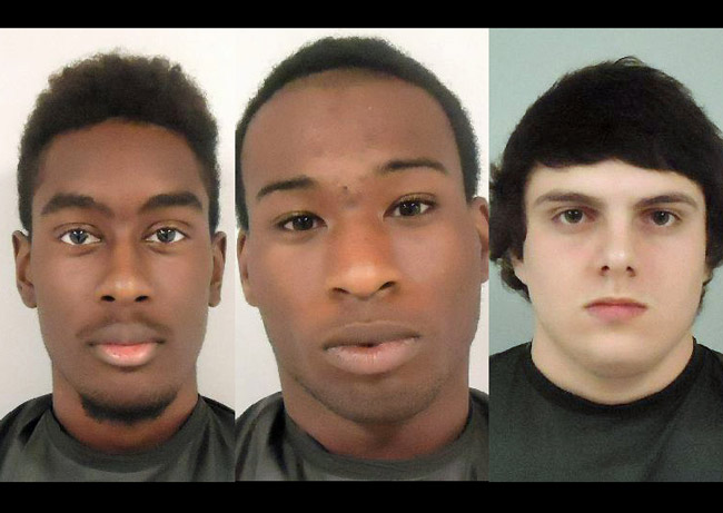 Three suspects in the Venus de Milo vandalism:  from left, Sequawne Solomon, Tyrone Walker and Joseph Orza.
