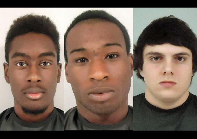 Three suspects in the Venus de Milo vandalism:  from left, Sequawne Solomon, Tyrone Walker and Joseph Orza.