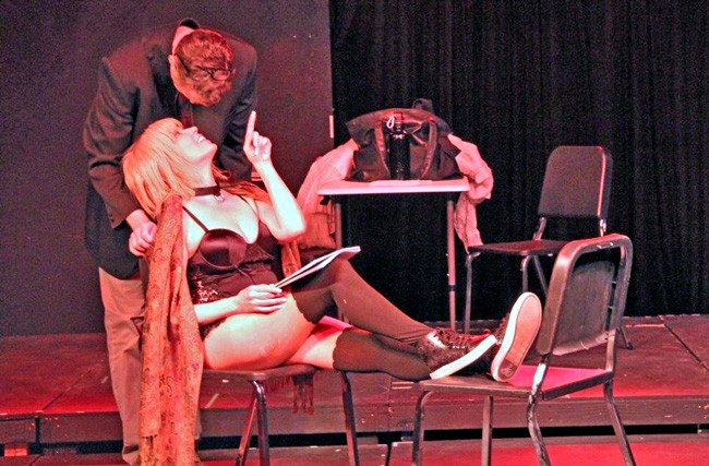 Their own red-light district: Annie Gaybis and  Eric Bohus in 'Venus in Fur.'