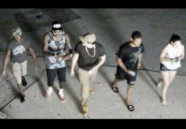 A surveillance video still captures the suspects involved in the incident at European Village on July 9. Click on the image for larger view.