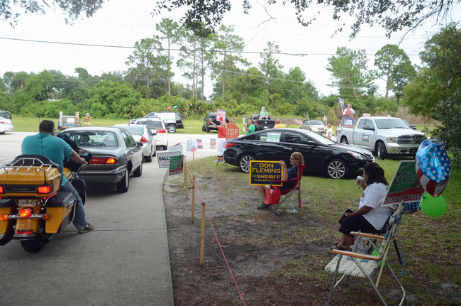 Flagler County's busiest precinct, at the VFW Post on Old Kings Road, has raised safety issues for the elections supervisor. She proposed splitting the precinct as part of a plan that would create two new precincts in the county. (© FlaglerLive)