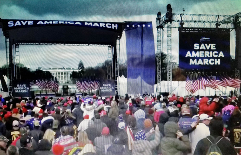 """A video still from the so-called """"Save America March"""" that devolved into an assault on the U.S. Capitol on Wednesday. (Gilbert Mercier)"""