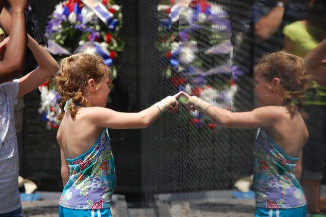 At the Vietnam Memorial in Washington.
