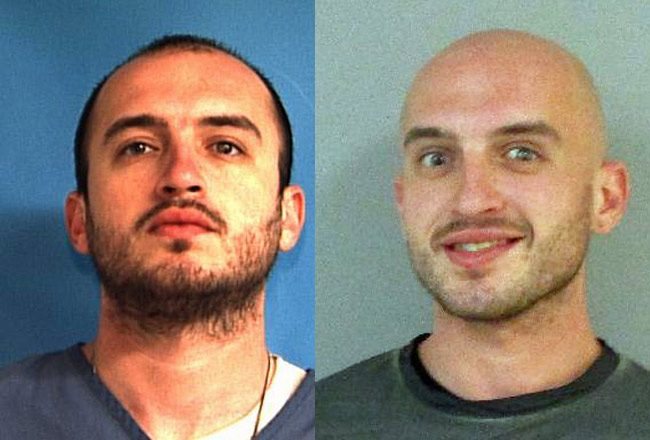 Vitaly Tsabak in his state prison mugshot, before his release in April 2015, and in his latest Flagler County jail mugshot, after Friday's arrest.