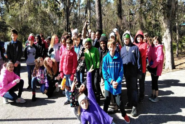 Palm Coast reports that frigid temperatures did not deter the Wadsworth Elementary School 5th graders' participation in this week's C.H.I.R.P. events at Linear Park. The students learned about protecting our waterways and about how to help protect the various sea creatures from pollutants. (Palm Coast)