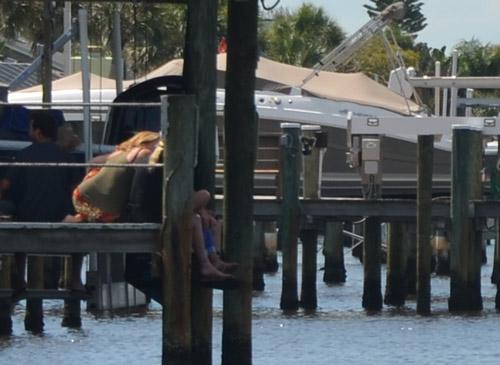 The wait dockside earlier today. (© FlaglerLive)
