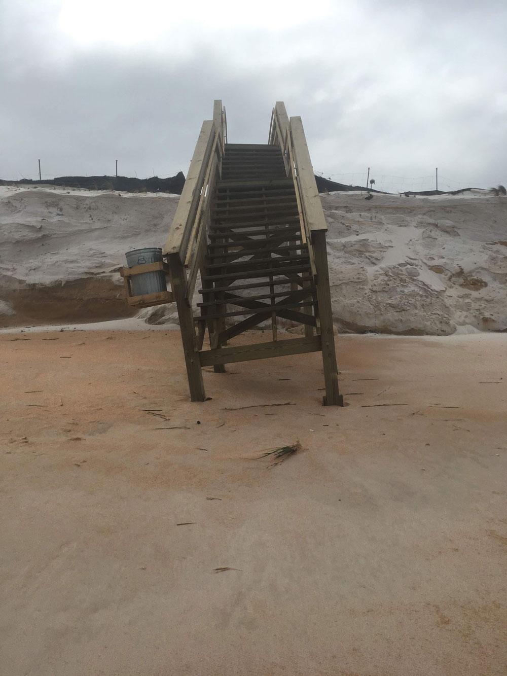 damaged dune walkover flagler beach