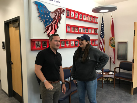 U.S. Rep. Mike Waltz and Palm Coast Mayor Milissa Holland shortly after noon at Palm Coast's Station 25, site of the city's emergency operation. (Palm Coast)