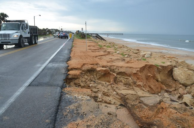 The Latest Washout From Heavy Rains In Flagler Beach Closed A Segment Of A1a Between South