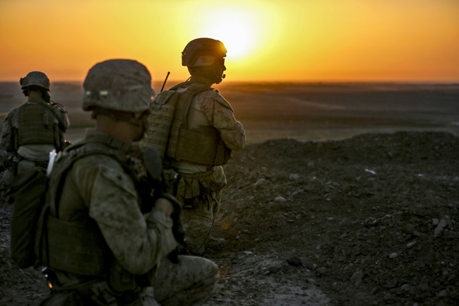 In 13 years of war and reconstruction, the sun never rose on American and European efforts to repair Afghanistan.  U.S. Marines here observe surrounding compounds during a security patrol in Washir district in Helmand province, Afghanistan, Sept. 29. The Marines are assigned to Bravo Company, 1st Battalion, 2nd Marine Regiment. The Marines patrolled to disrupt enemy operations against the Bastion-Leatherneck Complex.  (Cpl. John A. Martinez Jr.)