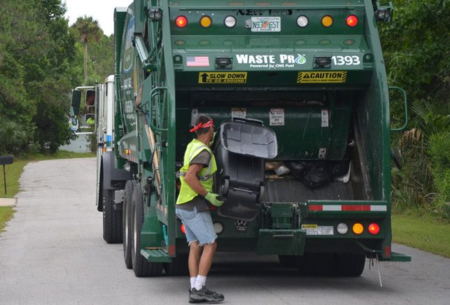 A few bumps aside, Palm Coast remains satisfied with Waste Pro, its garbage hauler. (© FlaglerLive)