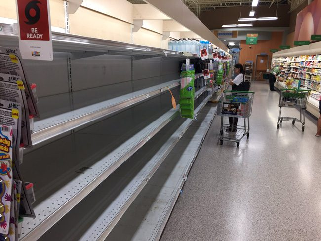 The water shelves at Publix in Flagler Beach around noon today. (c FlaglerLive)