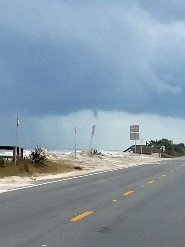 A water spout was spotted by several weather spotters ' at 12:46 p.m. Monday at the south county line. The waterspout moved toward Ormond Beach where it was reported to have dissipated,' Bob Pickering, Flagler County Emergency's weather specialist, reported. The photograph was taken by Eddie Cail and distributed by Pickering.