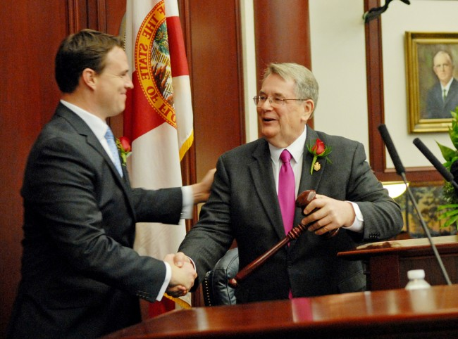 It's how they do things in the Florida Legislature: House Speaker Will Weatherford, R-Wesley Chapel, left, and Senate President Don Gaetz, R-Niceville, negotiated an ethics deal in secret before sending it to Gov. Rick Scott. (Mark Foley)