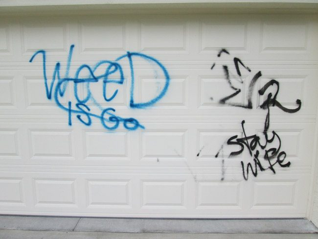 The garage door at 140 Eric Drive, one of three garage doors vandalized this week. (FCSO)