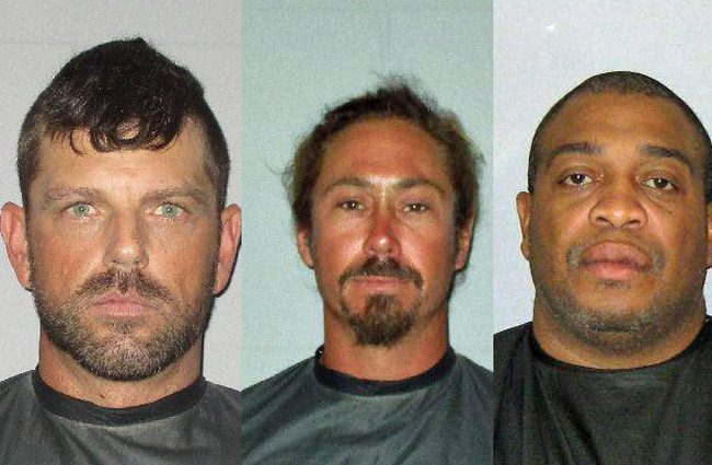 Those arrested this weekend included, from left, David G. Findlay, Keith O'Dell, and Louis Jackson.