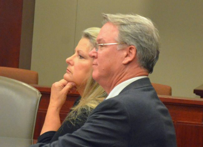 Kimberle Weeks at her sentencing in May 2018, with her attorney, Kevin Kulik. (© FlaglerLive)