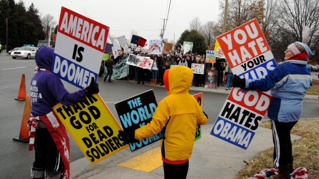 Westboro Baptist Church's road show. (© Jordan Jez)