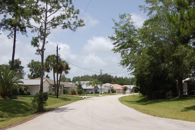 Wesley Lane in palm Coast, along where the Carman home is located, (© FlaglerLive)
